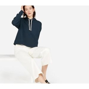 Everlane French Terry Square Hoodie S Navy Blue